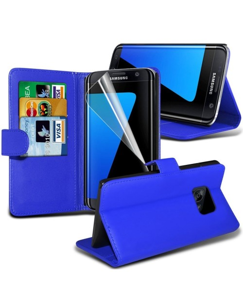 Samsung Galaxy S7 Edge Pu Leather Book Style Wallet Case with free  Stylus-Blue