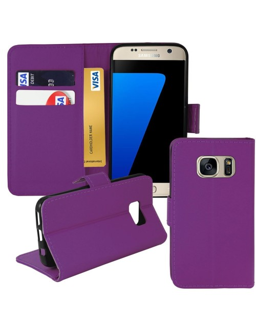 Samsung Galaxy S7 Edge Pu Leather Book Style Wallet Case with free  Stylus-Purple
