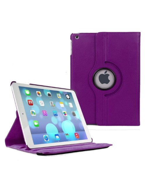 Apple iPad Mini 4 360 Rotaing Pu Leather with Viewing Stand Plus Free Stylus Case Cover-Purple