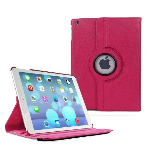 Apple iPad 2 360 Rotaing Pu Leather with Viewing Stand Plus Free Stylus Case Cover for Apple iPad 2-Pink