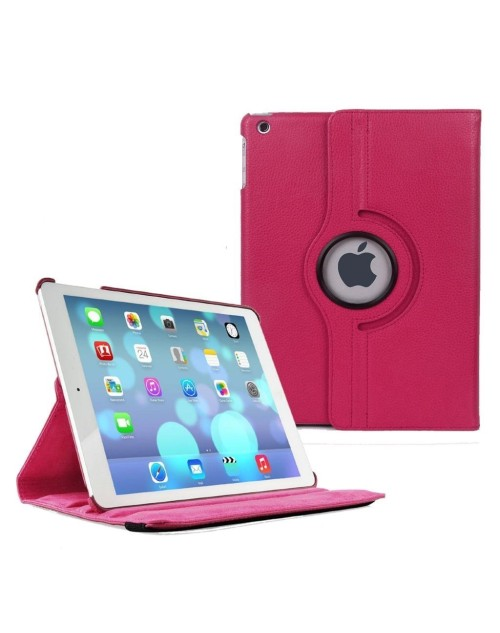 Apple iPad Mini 4 360 Rotating Pu Leather with Viewing Stand Plus Free Stylus Case Cover-Pink