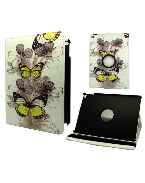 Apple iPad Air 2 Printed 360 Rotaing Pu Leather with Viewing Stand Plus Free Stylus Case Cover for Apple iPad Air 2-Yellow Butterflies