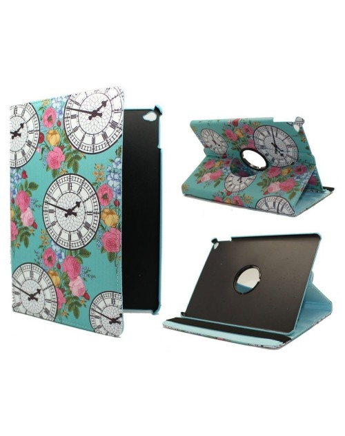 Apple iPad Air 2 Printed 360 Rotaing Pu Leather with Viewing Stand Plus Free Stylus Case Cover for Apple iPad Air 2-Clock