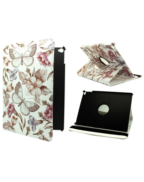 "Apple iPad Pro 12.9"" (2016) Printed 360 Rotaing Pu Leather with Viewing Stand Plus Free Stylus Case Cover for Apple iPad Pro 12.9-Brown Butterflies & Flowers"