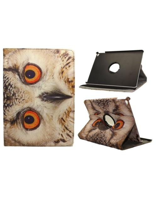 Apple iPad Air 2 Printed 360 Rotaing Pu Leather with Viewing Stand Plus Free Stylus Case Cover for Apple iPad Air 2-Owl