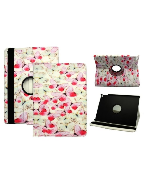 Apple iPad Air 2 Printed 360 Rotaing Pu Leather with Viewing Stand Plus Free Stylus Case Cover for Apple iPad Air 2-Pink Butterflies