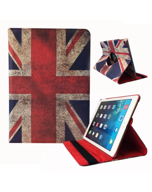 Apple iPad Air Pros 9.7 Printed 360 Rotaing Pu Leather with Viewing Stand Plus Free Stylus Case Cover for Apple iPad Air 3-UK Flag