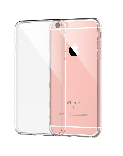 iPhone 6s/6 Clear Transparent See through Silicon Gel Back Case with Screen Protector-Clear