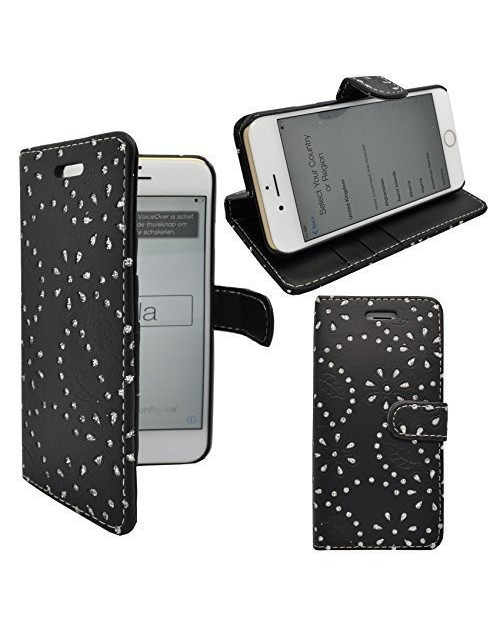 iPhone 6 6s Glitter Pu Leather Book Style Wallet Case with free  Stylus-Black