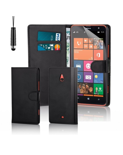 Microsoft Lumia 1320 Pu Leather Book Style Wallet Case with free  Stylus-Black