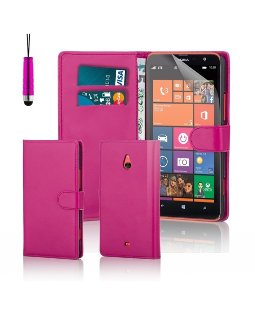 Microsoft Lumia 1320 Pu Leather Book Style Wallet Case with free  Stylus-Pink