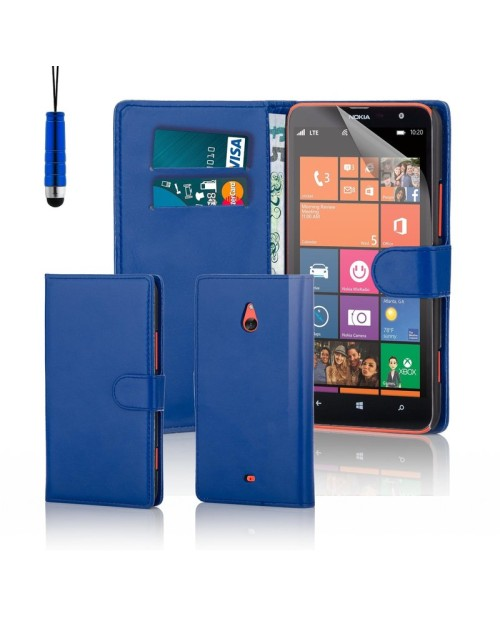 Microsoft Lumia 1320 Pu Leather Book Style Wallet Case with free  Stylus-Blue