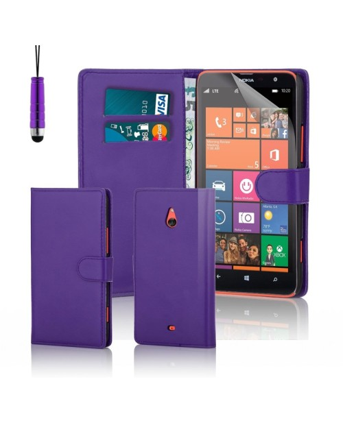 Microsoft Lumia 1320 Pu Leather Book Style Wallet Case with free  Stylus-Purple