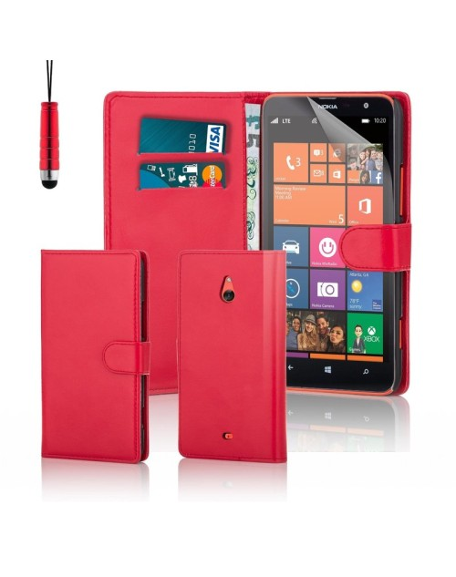 Microsoft Lumia 1320 Pu Leather Book Style Wallet Case with free  Stylus-Red