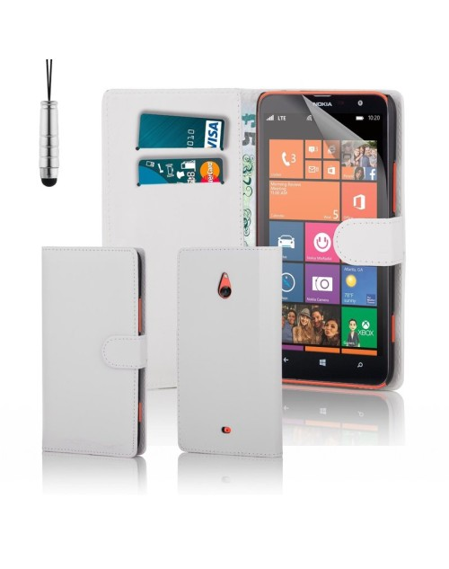 Microsoft Lumia 1320 Pu Leather Book Style Wallet Case with free  Stylus-White