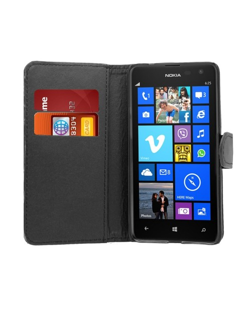 Microsoft Lumia 640 Pu Leather Book Style Wallet Case with free  Stylus-Black