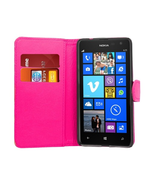Microsoft Lumia 640 Pu Leather Book Style Wallet Case with free  Stylus-Pink