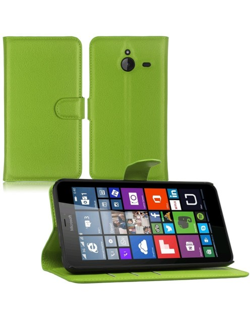Microsoft Lumia 650 Pu Leather Book Style Wallet Case with free  Stylus-Green