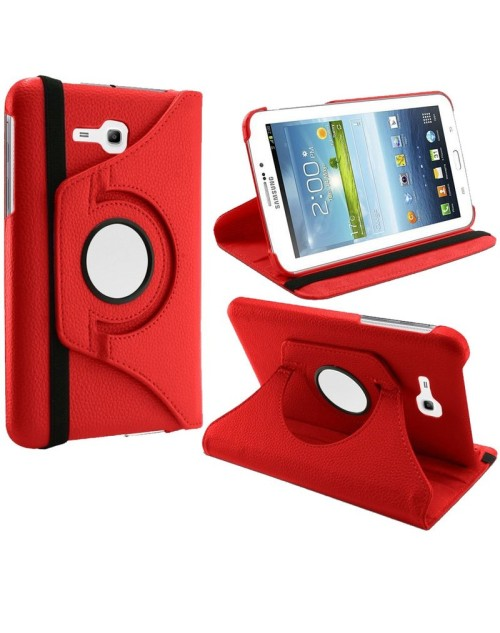 Samsung Galaxy Tab 3 Lite 7.0 360 Rotating Pu Leather Case with Adjustable Viewing Stand-Red